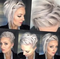 50 Façons Pour Tresser vos Cheveux Courts | Coiffure simple et facile Une coiffure a base de tresse en cascade sur cheveux courts tuto coiffure cheveux courts blonds et yeux...