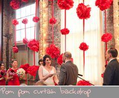 pom pom curtain backdrop