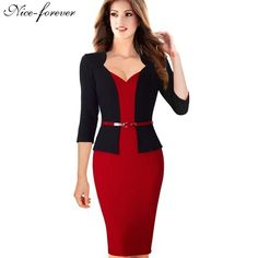 Nice-forever Stylish One-piece Faux Jacket Elegant V-neck Work dress Office Bodycon Female Sleeve Sheath Woman Dress Office Dresses For Women, Dresses For Work, Clothes For Women, Casual Dresses, Fashion Dresses, Casual Wear, Casual Attire, Faux Jacket, Mode Costume