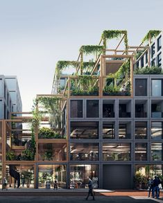 The Rebel Residence designed by & enables spatial flexibility in a mixed-use green building. Grid Architecture, Futuristic Architecture, Sustainable Architecture, Amsterdam Architecture, Modern Residential Architecture, Minimalist Architecture, Wooden Skyscraper, Social Housing, Facade Design