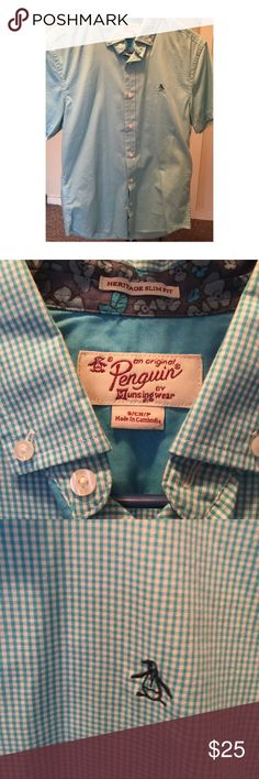 """Penguin Brand Men's Blue Checkered Button Up (s) Penguin Brand Men's Blue Checkered Button Up. """"Heritage slim fit"""". No rips, pulls or stains. Size small. No missing buttons Original Penguin Shirts Dress Shirts"""