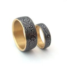 Damascus Wedding Band Set with 18k Gold Liners by HandforgeMetal, $2700.00