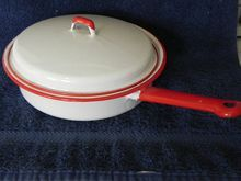 Enamel Ware Red and White Vintage Egg Poacher