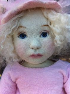 needlefelted doll in pink