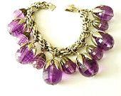 Napier 1950s Charm Bracelet  Purple Lucite Charms Silver Tone Chain