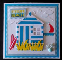 Hand Made Birthday Card using Cottage Cutz Boat, Surf Board, Grass and a die cut Beach House