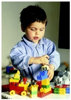 A toddler demonstrates his fine motor skills by grasping and munipulating building blocks. ( S. Villeger/Explorer/Photo Researchers, Inc.)