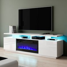Fireplace Tv Stand, Fireplace Inserts, Modern Fireplace, Tv Stand With Fireplace Insert, 80 Inch Tvs, Built In Electric Fireplace, Electric Fireplace Entertainment Center, Pedestal Coffee Table, Coffee Tables