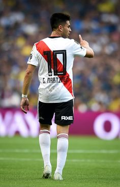 Gonzalo Martinez of River Plate gestures during the first leg match. Football Stickers, Football Cards, Football Players, River I, Gaston, Lionel Messi, Carp, Finals, Plates