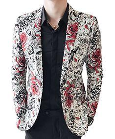 2506b1438 New OUYE Men's Red Black Rose Print Casual Blazer Mens Fashion Clothing.  [$68.99]