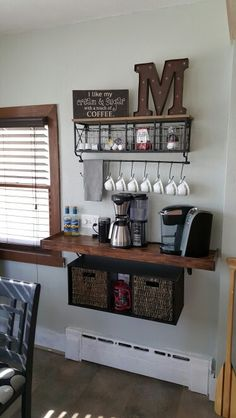 Coffee bar home - Building Corner Bar For Small Spaces – Coffee bar home Coffee Bars In Kitchen, Coffee Bar Home, Home Coffee Stations, Bar In Kitchen, Coffee Station Kitchen, Small Space Kitchen, Small Spaces, Small Small, Bar Da Esquina