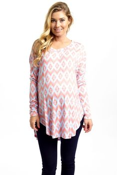 Not only is this maternity top the softest long sleeve out there, this vibrant hue and bold print will give you that loud statement your wardrobe is craving.