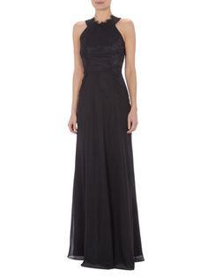 LAONA Damen-Abendkleid-mit-Collierkragen-und-floraler-Spitze-Schwarz