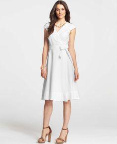 Ann Taylor - AT Petite Dresses - Petite Cotton Eyelet Wrap Dress