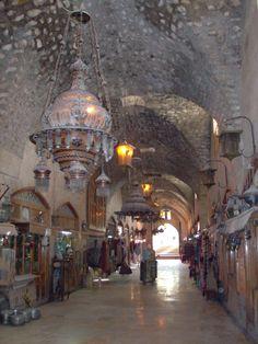 Inside the souk or market in Aleppo.