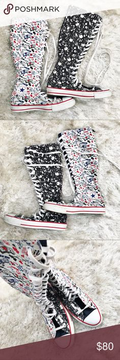 CONVERSE All Star Knee High Boots - Two prints! Rare, unique Converse knee high boots. Patterns are split in half — paint splatter ink blot and notebook doodles. Men's size 7.5 and women's 9.5. Great condition. Converse Shoes Combat & Moto Boots