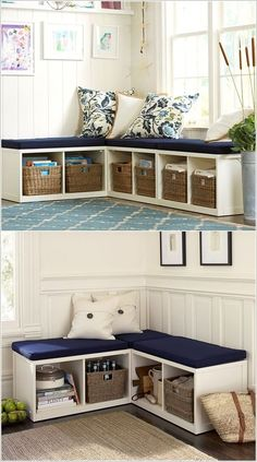 Wall corner decoration ideas and storage: wall corner shelves - storage benches - Bathroom wall corner cabinets