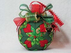 Quilted Christmas Ornament no sew green candy by KCFabricOrnaments, $15.00