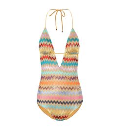 Missoni Mare - Crochet-knit swimsuit - Embrace retromania this season with Missoni Mare's crochet-knit swimsuit, covered from top to bottom in metallic zigzag stripes that have become synonymous with the beloved Italian label. The one-piece style is designed with halter straps that tie behind the neck and padded triangle cups. Before heading to the beach, throw on one of the brand's covetable cover-ups for an enviable ensemble. seen @ www.mytheresa.com