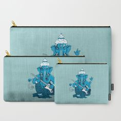 """Ganesha rocks ! (v3)"" Carry-All Pouches by Savousepate on Society6 #pouch #purse #clutch #bag #ganesha #elephant #rocknroll #rockandroll #guitar #music #blue #turquoise #mint"