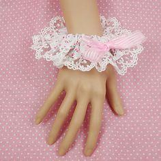 Bianchi di cotone Sweet Lolita polsini con fiocco rosa – EUR € 12.37