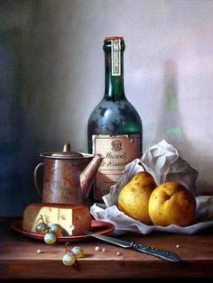 Zoltan Preiner/ Still life with muscat, cheese and pears
