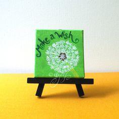 Make A Wish Mini Dandilion Canvas Painting 3x3 Magnet by nJoyArt, $13.00
