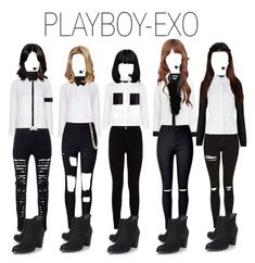 PLAYBOY-EXO by yonce4park on Polyvore featuring polyvore fashion style Alice & You Michael Kors Alexander Wang Jaeger MANGO Anthony Vaccarello H&M 7 For All Mankind WithChic Topshop UGG Australia Alexander McQueen clothing kpop EXO