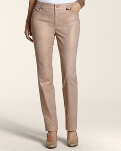 Platinum Denim Foiled Slim-Leg Jean