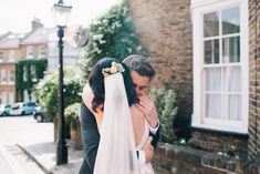 Bride & Groom First Look - Blush Pink Wedding Dress Tamsin by Catherine Deane For A Stylish London Wedding At 06 St Chads Place With Images From Robbins Photographic