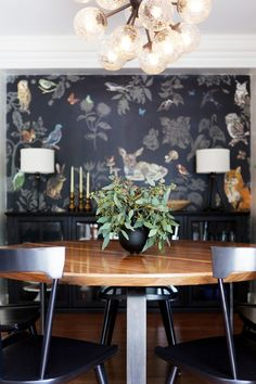 Another common thread is patterned wallpaper! Jacobson used Nathalie Lété's adorable deer-print Fôret Noire Wallpaper in the dining room, an Osborne & Little wallpaper of...
