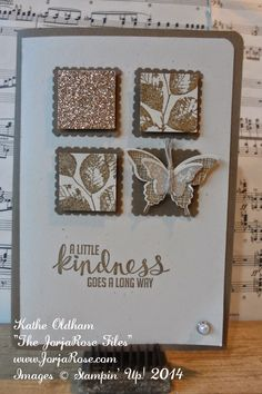 "By Kathe Oldham from ""The JorjaRose Files"", an ""Inchie"" card featuring the Stampin' Up! stamp set ""Kinda Eclectic"" ..."