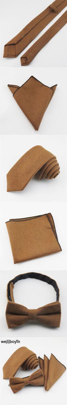 100% Wool Neck Tie Set Men's Ties Bowtie Pocket Square Brown Handkerchief Narrow Ties For Men Suit Gravata cravate pour homme
