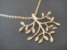 Gold Tree Necklace Tree Pendant Tree Jewelry by Crystalshadow