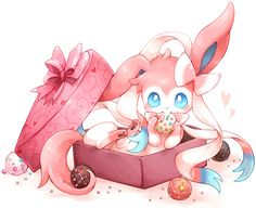 Sylveon in a candy box via gottacatchemall on http://gottacatchemall.tumblr.com/post/79666692275