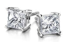 Princess-cut diamond studs, 1 ct. t.w., $1,100–$2,500