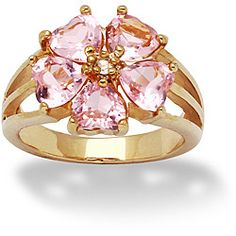 Lillith Star 14k Gold Overlay Pink and Clear CZ Flower Ring | Overstock.com