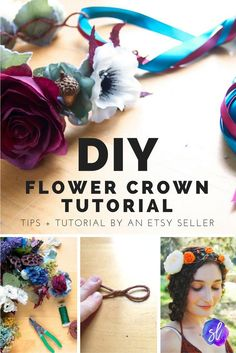 Flower crown DIY tutorial: make your own beautiful flower crowns, with tutorial and tips by an Etsy pro! Flower Crown Tutorial, Diy Flower Crown, Diy Crown, Flower Crowns, Flower Headbands, Flower Girls, Flower Crown Headband, Crown For Kids, Paper Flowers Diy