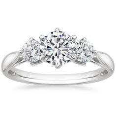 18K White Gold Three Stone Catalina Diamond Ring from Brilliant Earth... So clean and so simple and so beautiful!!! Love