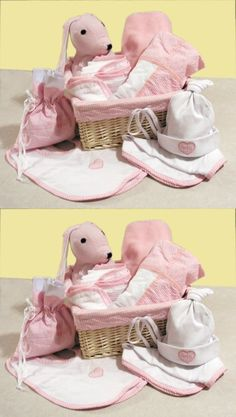 Trend Lab Deluxe 12 Piece Gift Basket Set in Pink