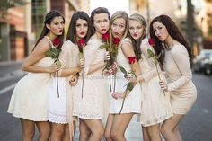 Off white dresses. Valentine Picture, Valentines Day Pictures, Prom Photography, Portrait Photography, Photography Ideas, Photography Flowers, Family Photography, Friends Group Photo, Sorority Pictures