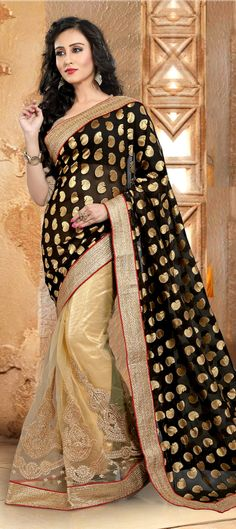 Buy Now : Rs. 2,250 /- http://www.indianweddingsaree.com/product/180237.html  Beige and Brown, Black and Grey color family Party Wear #Sarees with matching unstitched blouse.