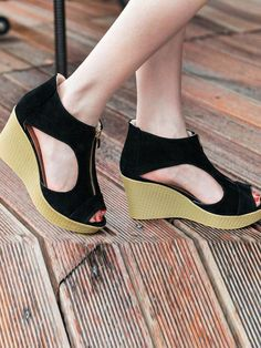 new arrival 7aaa3 332bf Solid Color Zipper Hollow Patchwork Wedges