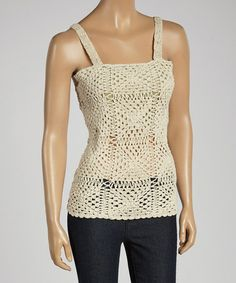 Look what I found on #zulily! Natural Crochet Square Neck Tank by Jayli #zulilyfinds