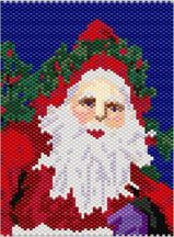 Santa in the Chimney Detail.   Detail of the Tapestry. Graph provided in color code mode with numbers and quantities of Delicas needed. 24 colors