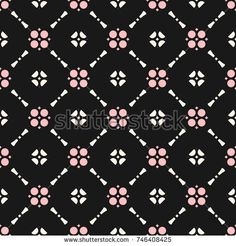 Vector floral ornament seamless pattern in oriental style. Texture of mesh, grid, lattice. Abstract background in trendy colors, black, pink and beige. Repeat design for decoration, fabric, cloth