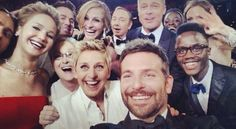 Having a good time with ellen at the 2014 oscars.