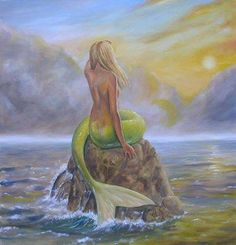 Back view of a Mermaid with a green tail sitting on a rock art