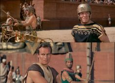 Stephen Boyd as Messala and Charlton Heston as Ben-Hur, the great rivals in the chariots race to take place in Jerusalem. For Massala, victory means reinforcing his world view that Romans are superior to Jews and anyone else who opposes Roman power. For Judah Ben-Hur victory is his revenge for his mother and daughter, who are believed dead. Ben-Hur 1959