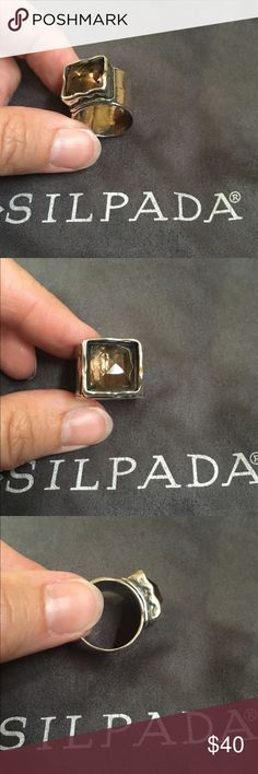Silpada Sterling Silver ring size 7 Beautiful Silpada .925 hammered Sterling silver ring with smoky Quartz. Substantial piece but smooth and comfortable to wear. Stunning! Will ship in the Silpada crush proof box. Silpada Jewelry Rings